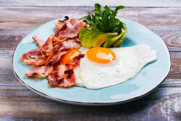 Classic Keto breakfast, eggs, bacon and advocado